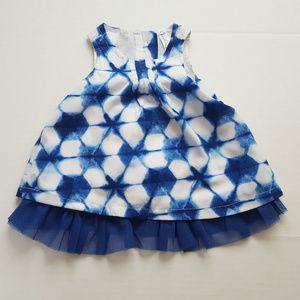 Cherokee Sleeveless Dress Blue Floral Tie Dye NB